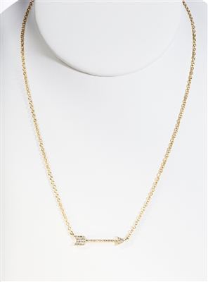 Gold over Silver Micro Pave Arrow Necklace