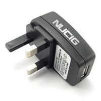 A black 3 pin USB mains plug from NUCIG