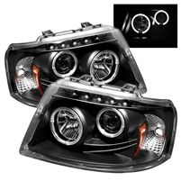2003 - 2006 Ford Expedition Projector LED Halo Headlights - Black