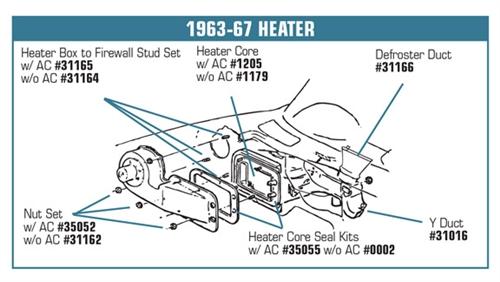 New Heater Core FOR 1963 1964 1965 1966 1967 Chevrolet Corvette w//o AC