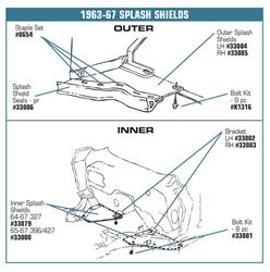Left /& Right C2 Corvette 1963-1967 Outer Splash Shield Both
