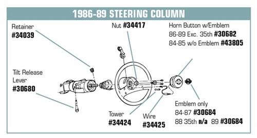 34425 - 84-89 Horn Button Wire.Corvette Parts Worldwide