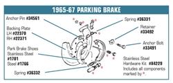 1965 1982 Corvette Parking Emergency Brake Shoes E Park OEM Steel