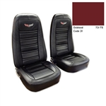 1-419331E 1973-1974 Corvette Embroidered Leather Seat Covers. Oxblood Lther/Vnyl Original