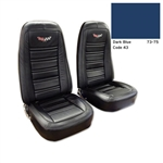 1-419343E 1973-1974 Corvette Embroidered Leather Seat Covers. Dark Blue Lthr/Vnyl Original