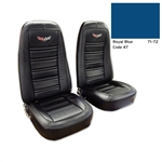 1-419447E 1972 Corvette Embroidered Leather Seat Covers. Royal Blue 100%-Leather