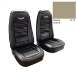 1-419616E 1975 Corvette Embroidered Leather Seat Covers. Neutral 100%-Leather