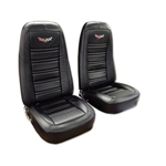 1-419620E 1975 Corvette Embroidered Leather Seat Covers. Black 100%-Leather