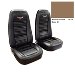 1-419651E 1975 Corvette Embroidered Leather Seat Covers. Medium Saddle 100%-Leather