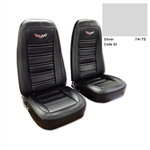 1-419661E 1975 Corvette Embroidered Leather Seat Covers. Silver 100%-Leather