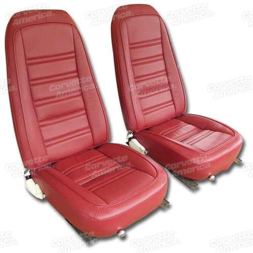 1 419724 1977 1978 Corvette Leather Seat Covers Red Leather Vinyl Original
