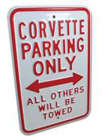 corvette part Corvette Parking Only Sign