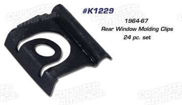 1-K1229 64-67 Rear Window Molding Clips. Coupe - 24 Piece Set
