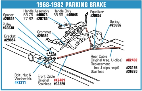 For 1984-1986 Chevrolet K30 Parking Brake Cable Rear Right Wagner 61147RT 1985