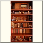 "Vinyl Door Mural ""Vintage Book Case"" - Fire-Rated"
