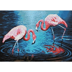 D'Art Diamond Embroidery - Flamingos On The Lake
