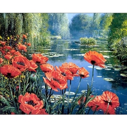 D'Art Diamond Embroidery - Poppies By The Lake