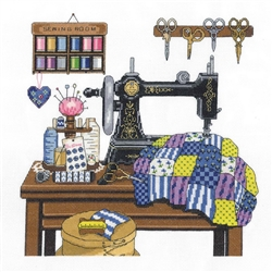 Janlynn Counted Cross Stitch, Antique Sewing Room