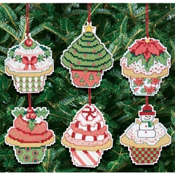 Janlynn Counted Cross Stitch, Christmas Cupcake Ornaments