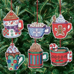 Janlynn Counted Cross Stitch, Cocoa Mug Ornaments