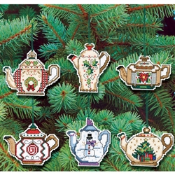 Janlynn Counted Cross Stitch, Christmas Teapot Ornaments