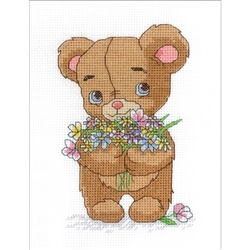 Janlynn Counted Cross Stitch, Bear With Bouquet
