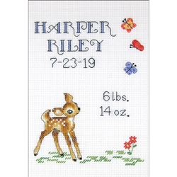 Janlynn Counted Cross Stitch, Baby Deer Sampler