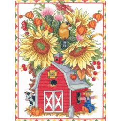Janlynn Counted Cross Stitch, Barn Birdhouse Bouquet