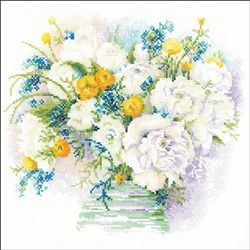 RIOLIS Counted Cross Stitch Kit, Watercolor Peonies