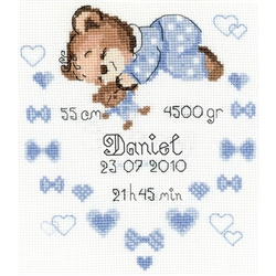 RIOLIS Counted Cross Stitch Kit, Boys Birth Announcement