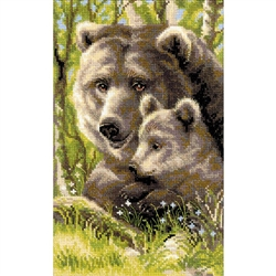 RIOLIS Counted Cross Stitch Kit, Bear With Cub