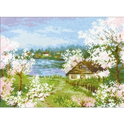 RIOLIS Counted Cross Stitch Kit, Apple Blossoms