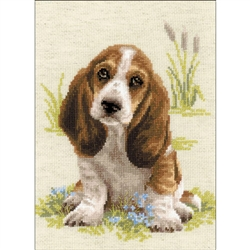 RIOLIS Counted Cross Stitch Kit, Basset Hound Puppy