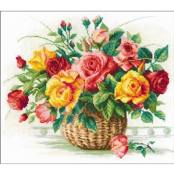 RIOLIS Counted Cross Stitch Kit, Basket W/Roses
