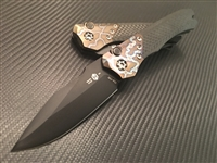 Heretic Knives Wraith Auto Distressed DLC Carbon Fiber w/Flamed Titanium Bolster