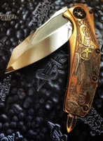 Marfione Custom Matrix, Mirror Polished Elmax, Copper Scales Custom Engraved By Jody Muller, Copper Ringed Accents
