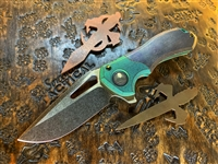 Marfione Custom Protocol, Antique Green Titanium Bolsters w/ Patinated Copper Scales and Bronzed Ti Hardware
