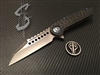 Marfione Custom Warhound Folder Stonewashed M390 Carbon Fiber Stonewashed Titanium Blue Titanium Hardware