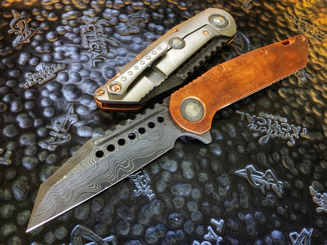 Marfione Custom Warhound Chad Nichols Boomerang Damascus, Eggshell finish Copper, Damascus and Copper Accents