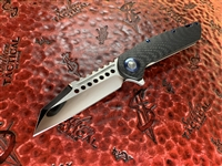 Marfione Custom Warhound Folder Mirror polished, Carbon Fiber Double vapor blast Titanium w Blue Titanium Accents