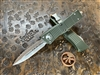 Microtech Troodon Double Edge Satin Full Serrated OD Green