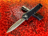 Microtech Troodon Double Edge Stonewashed Double Full Serrated Distressed Black