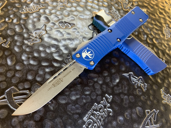 Microtech Troodon Single Edge Apocalyptic Standard Blue