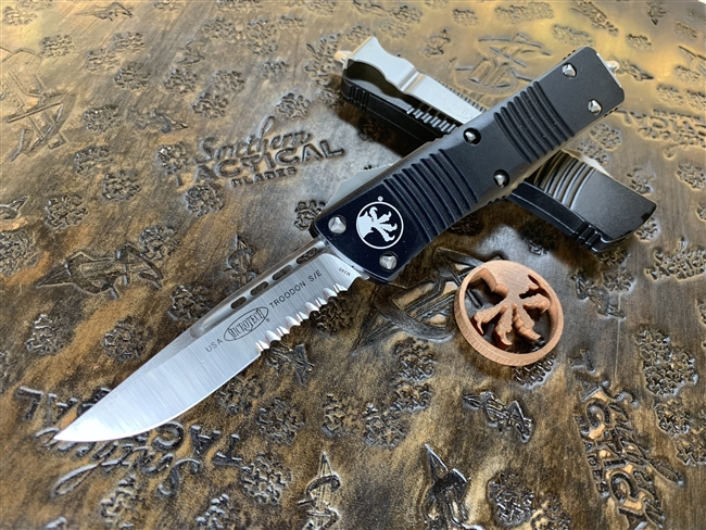 Microtech Troodon Single Edge Satin Part Serrated