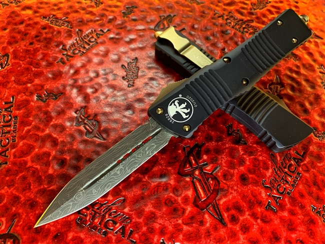 Microtech Combat Troodon Double Edge Damascus Bronzed Accents