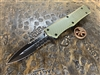 Microtech Combat Troodon Double Edge Part Serrated G10 OD Green