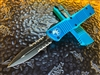Microtech Combat Troodon Double Edge Part Serrated Turquoise
