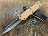 Microtech Combat Troodon Double Edge Full Serrated G10 Tan
