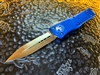 Microtech Combat Troodon Double Edge Satin Standard Blue