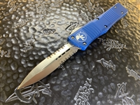 Microtech Combat Troodon Double Edge Satin Part Serrated Blue